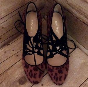 Nine West Leopard Lace-up Heels